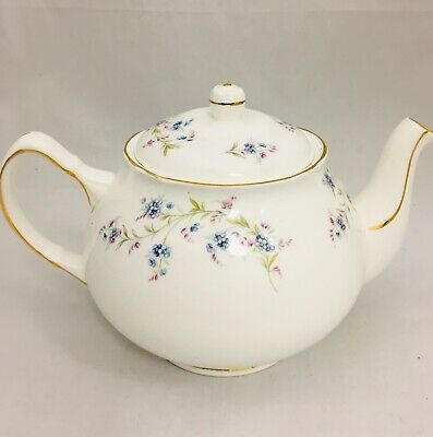 Duchess Blue Pink Floral Pattern Fine Bone China Teapot Made in England Vintage