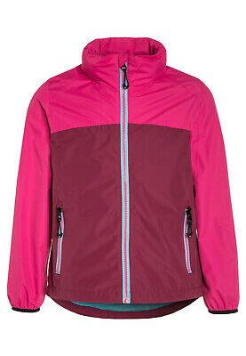 Girls Rain Jacket Waterproof Pink Packable Hooded Coat by Killtec NEW