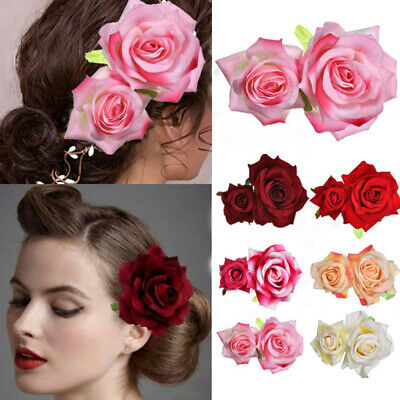 CHIC Wedding Double Brooch Accessorie Rose Flower Bridal Hair Clip Hairpin