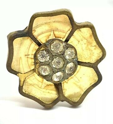 BEAUTIFUL ANTIQUE GLASS RHINESTONE BRASS GEORGIAN FLOWER BUTTON 29mm