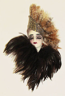 Free Shipping- Unique Creations Small Art Deco Lady Face Mask Wall Hanging Decor
