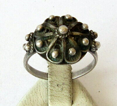 Excellent Early 20Th Century Silver Ring With Filigree  # 861