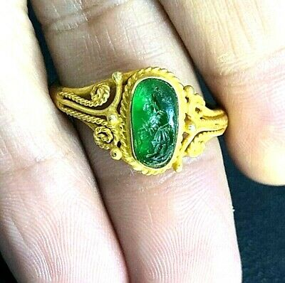 Ancient RARE!! Green agate Intaglio Greek God Zeus Signet Solid 22K Gold Ring