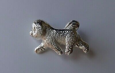 Large Sterling Silver Bichon Frise Moving Study Brooch