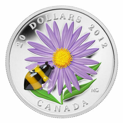 2012 $20 Aster with Venetian Glass Bumblebee - Pure Silver Coin