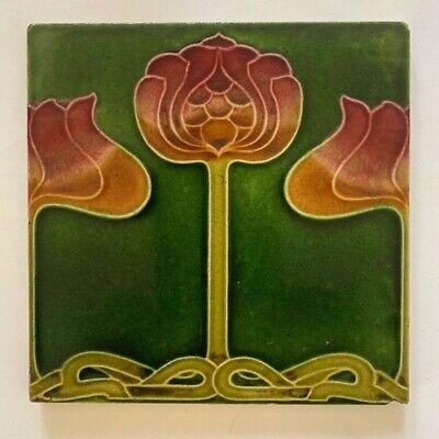Stunning Original Antique Art Nouveau Majolica Tile C1905 Boote