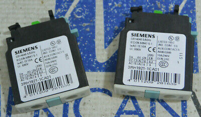Siemens 3RH1921-1CA01 Auxiliary Contact Block 10A *USED *LOT OF 2