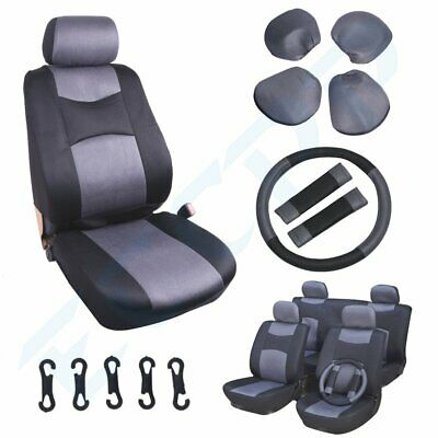 11pc Gray Black Full Set New Car Seat Covers w/Steering Wheel cover/ Belt Pads