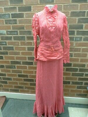 Long pink lace skirt and top, dress, theatre Edwardian, Downton Abbey, pantomime