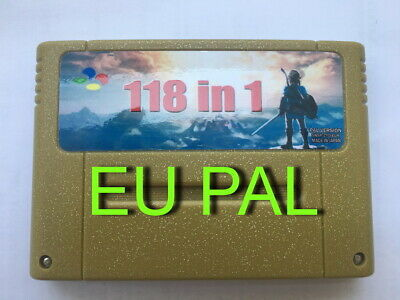 118 in 1 Game Cartridge for SNES 16-Bit Multicart PAL EU Version - Battery Save