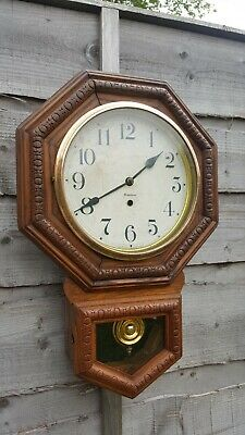 RARE VINTAGE ANTIQUE OCTAGON AMERICAN DROP SCHOOL HOUSE WATERBURY CLOCK c1880