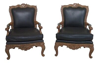 Awesome 47947Ec Pair Maitland Smith Large French Style Leather Arm Squirreltailoven Fun Painted Chair Ideas Images Squirreltailovenorg