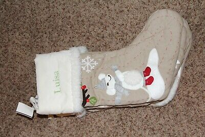 NWOT Pottery Barn Kids Woodland Christmas Stocking white cuff mouse Luisa