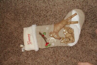 NWOT Pottery Barn Kids Woodland Christmas Stocking white cuff deer Granny