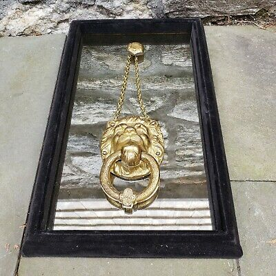 Vintage Brass Lion's Head Door Knocker Door Knocker Mounted on Mirrored Frame