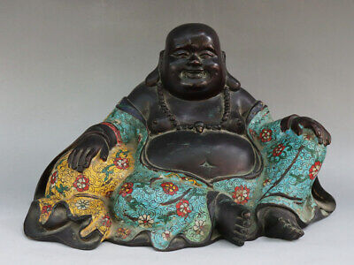 Chinese Exquisite Handmade Buddha copper Cloisonne statue
