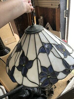 Vintage Unsigned Tiffany Style Fan Shape Stained  Lamp Shade