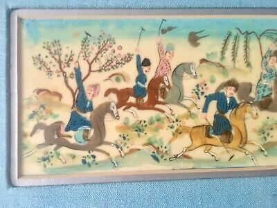 LATE 19TH-EARLY 20TH C Persian Hunt Scene PAINTING ON CAMEL BONE