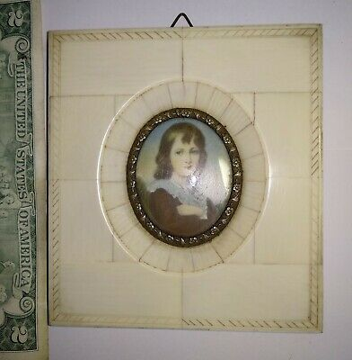 Antique miniature painting lady girl portrait frame hand painted Duchess? signed