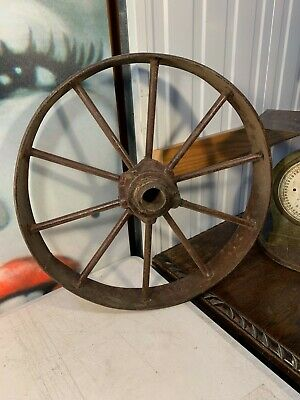 Antique Vintage Solid Cast Iron Tractor Truck Wheel Garden Shop Home Art