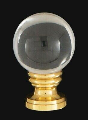 B&P Lamp® Smooth Crystal Design, 30mm Ball Finial, Solid Brass Brass Base