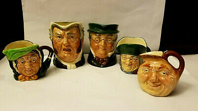 Lot of (5) Royal Doulton Toby Jugs Mugs Character Figure Faces