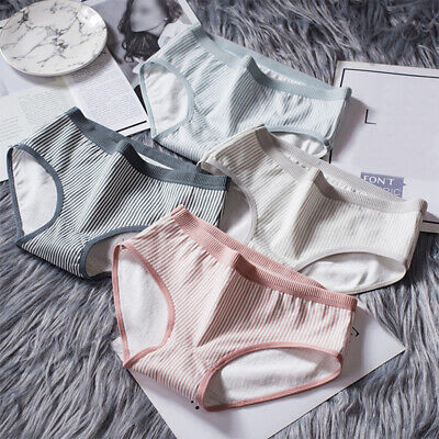 Female Brief Cotton Bikini Panties Women Girls Breathable Stripped Underwear 1PC