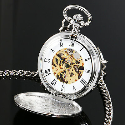 Vintage Antique Mechanical Skeleton Pocket Watch Full Hunter with Silver Chain