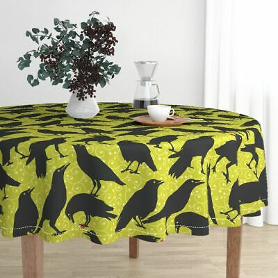 Round Tablecloth Ravens Black Bird Raven Crow Black Bird Halloween Cotton Sateen