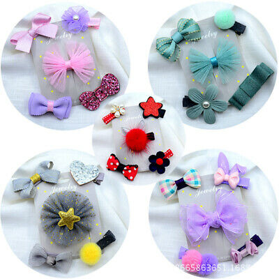 Baby Girls Hair Clips Set Hairpins Star Flower Bow Alligator Barrettes 5PCS