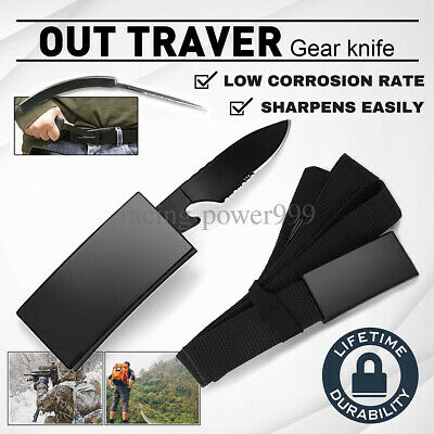 Outdoor Tactical Fixed Nylon-Belt Blade Knife Camping Survival Urgency Saber New