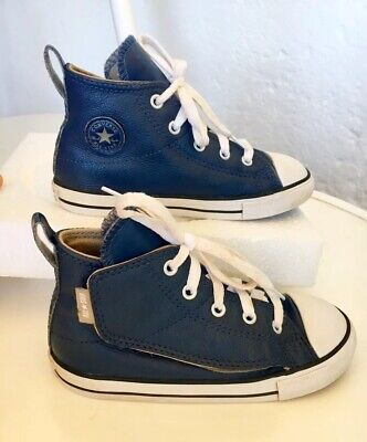 Navy Leather Converse High Top Velcro Boys Girls Kids US/UK 10 Suits 4 Year Old