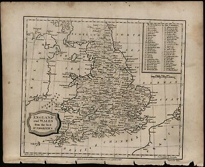 England and Wales circa 1807 black and white engraving antique map