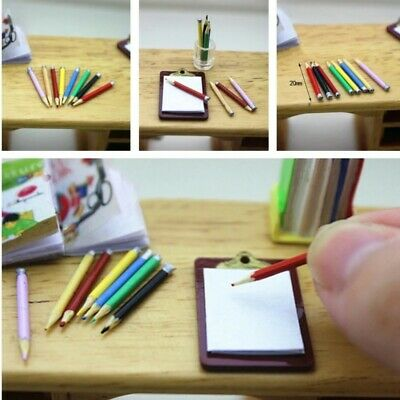 Doll House Accessories 1:12th Miniature 1 Clip Board & Pencils