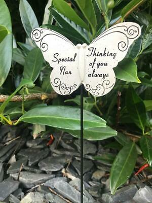 Nan Butterfly Stick - Memorial Tribute Spike - Remembrance Stake Plaque