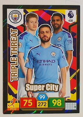 Panini Adrenalyn Xl Premier League 2019/20 Manchester City Triple Threat Card