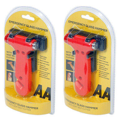 2X AA Emergency Hammer - Smashes Glass With Seat Belt Cutter