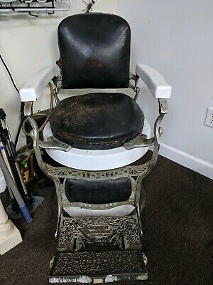1910 Koken Barbers Chair All Original Leather, Porcelain/ Hydraulic Vintage
