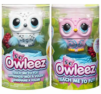 Owleez, Flying Baby Owl Interactive Toy with Lights and Sounds - Pink / White