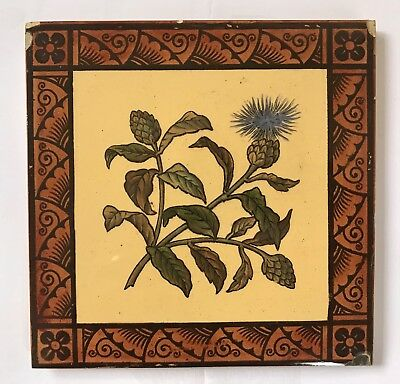 Original Antique Victorian Hand Painted Flower Tile C1880 W T Copeland Aesthetic