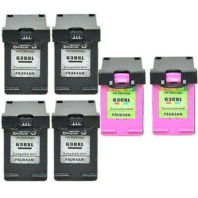 4PK Black + 2PK Color Ink Compatible with HP 63XL OfficeJet 4650 3834 4652 4654