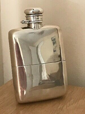 Antique Victorian 1884 Scottish Silver/Gilt Hip Flask & Cup by Hamilton & Inches