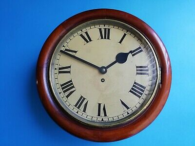 #031 1940s MAHOGANY TAMESIDE FUSEE SCHOOL/OFFICE WALL CLOCK