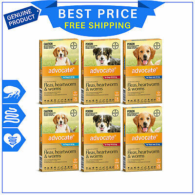 ADVOCATE for Dogs Heartworm Worm and Flea Treatment 12 Pipettes Shipping FREE