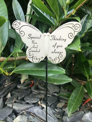 Nan and Grandad Butterfly Stick Memorial Tribute Spike Remembrance Stake Plaque