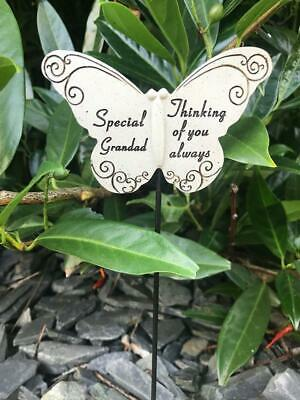 Grandad Butterfly Stick - Memorial Tribute Spike - Remembrance Stake Plaque