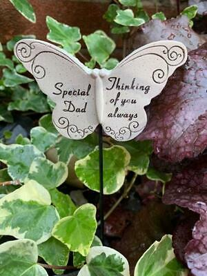 Dad Butterfly Stick - Memorial Tribute Spike - Remembrance Stake Plaque
