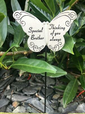 Brother Butterfly Stick - Memorial Tribute Spike - Remembrance Stake Plaque