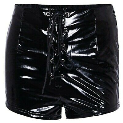 Damen PVC Leder Shorts Lack-Optik Hohe Taille Lac Up Hotpants Punk Party Club