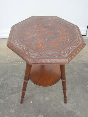 Art Nouveau Mahogany Carved Octagonal Two Tier Side Table #